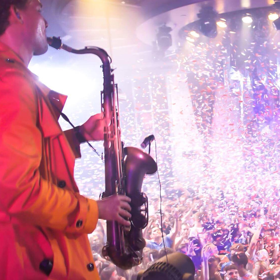 CharLeon on sax, with confetti UK crowd