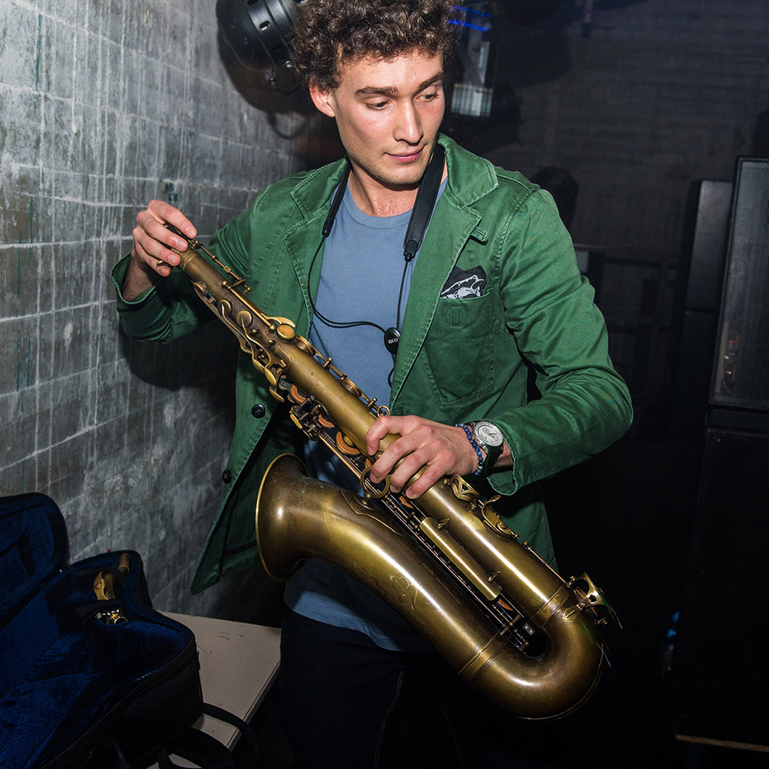 CharLeon green jacket on sax